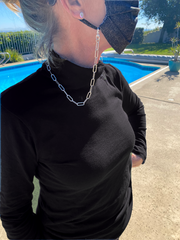 Sterling Silver Chain Necklace and Mask Holder | Handcrafted Jewelry by 4byKaren.com
