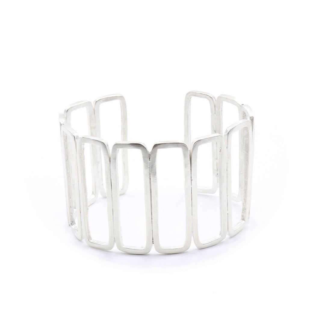 Rectangle Repeat Sterling Silver Cuff Bracelet | Handcrafted Jewelry by 4byKaren.com