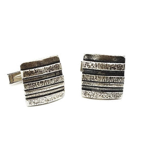 Striped Pattern Sterling Silver Cufflinks | Handcrafted Jewelry by 4byKaren.com