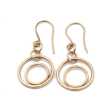 Load image into Gallery viewer, 14k Gold Double Hoop Earrings | Handcrafted Jewelry by 4byKaren.com