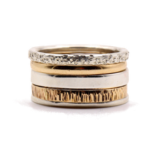 Load image into Gallery viewer, 14K Gold / Sterling Silver Mixed Stack Ring Set