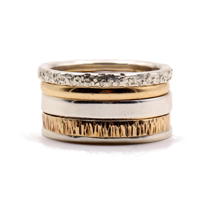14K Gold / Sterling Silver Mixed Stack Ring Set