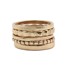 Load image into Gallery viewer, 14k Gold Stacked Ring Set | Handcrafted Jewelry by 4byKaren.com