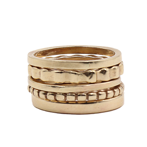14k Gold Stacked Ring Set | Handcrafted Jewelry by 4byKaren.com