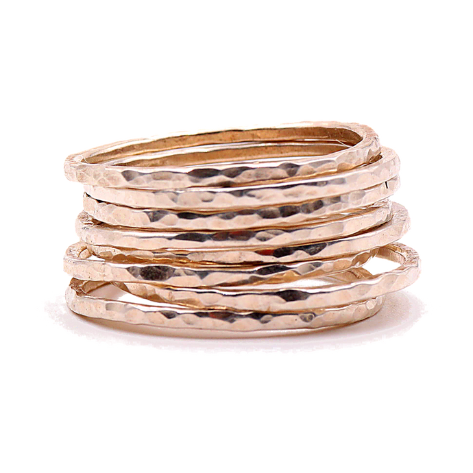 14k Gold Stack Ring Set | Handcrafted Jewelry from 4byKaren.com