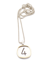 Load image into Gallery viewer, Sterling Silver and Gold Numbers Necklace | Handcrafted Jewelry by 4byKaren.com