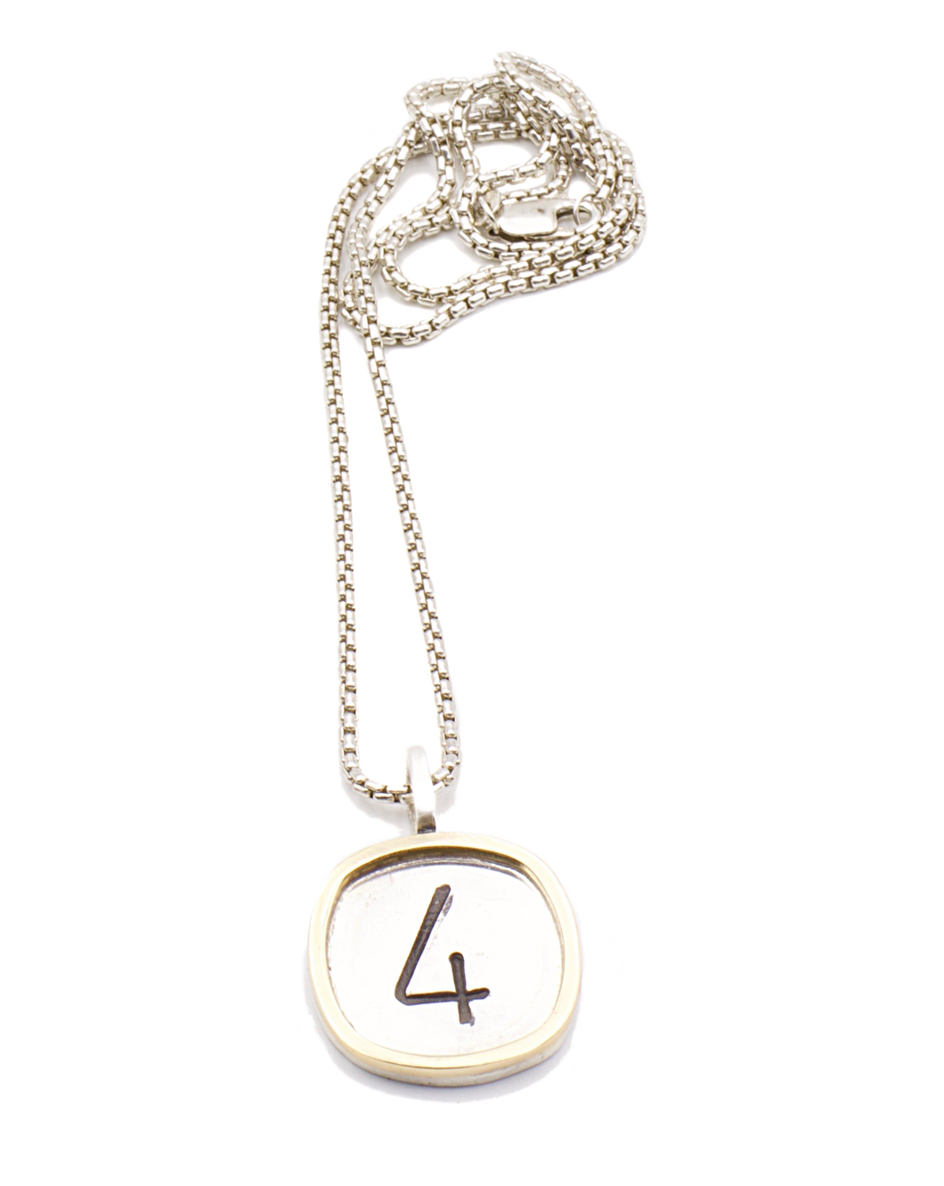Sterling Silver and Gold Numbers Necklace | Handcrafted Jewelry by 4byKaren.com