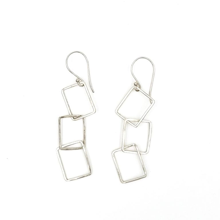 Rectangle Series Sterling Silver Earrings