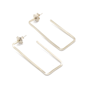 Rectangle Open Sterling Silver Earrings | Handcrafted Jewelry by 4byKaren.com