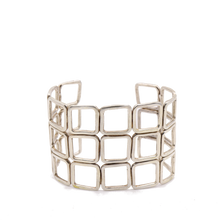 Load image into Gallery viewer, Squares Sterling Silver Cuff Bracelet | Handcrafted Jewelry by 4byKaren.com