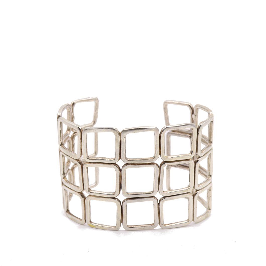 Squares Sterling Silver Cuff Bracelet | Handcrafted Jewelry by 4byKaren.com