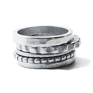Sterling Silver Stacked Ring Set | Handcrafted Jewelry by 4byKaren.com
