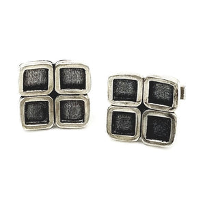 Four-Square Sterling Silver Cufflinks | Handcrafted Jewelry by 4byKaren.com