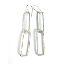 Load image into Gallery viewer, Organic Rectangle Sterling Silver Earrings | Handcrafted Jewelry by 4byKaren.com