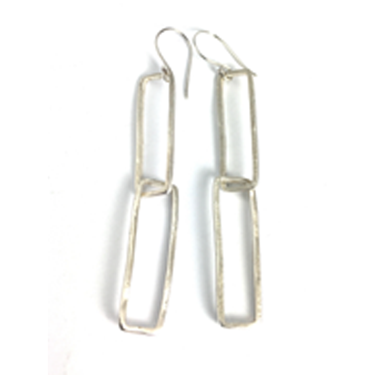 Organic Rectangle Sterling Silver Earrings | Handcrafted Jewelry by 4byKaren.com