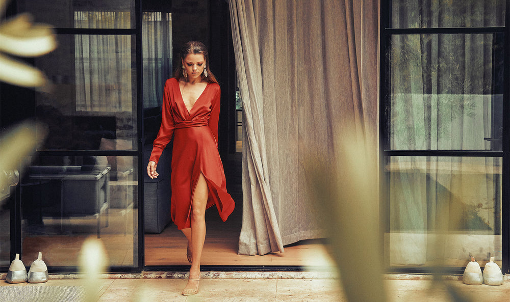 sofia-irina-woman-wearing-chloe-satin-midi-wrap-dress-red-spring-2020-collection
