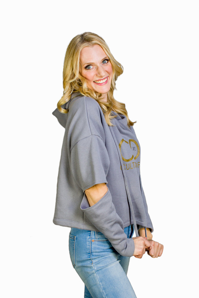 WOMEN'S CUT OUT FLEECE HOODIE - Steel Grey