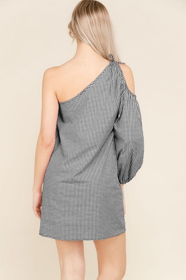 Bella One Shoulder Puffed Sleeve Black Gingham Dress