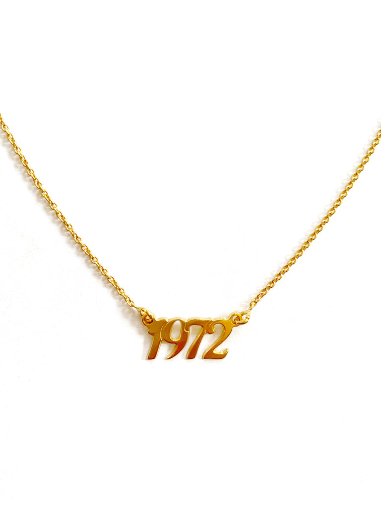 "18k Gold Plated ""1972"" Necklace"