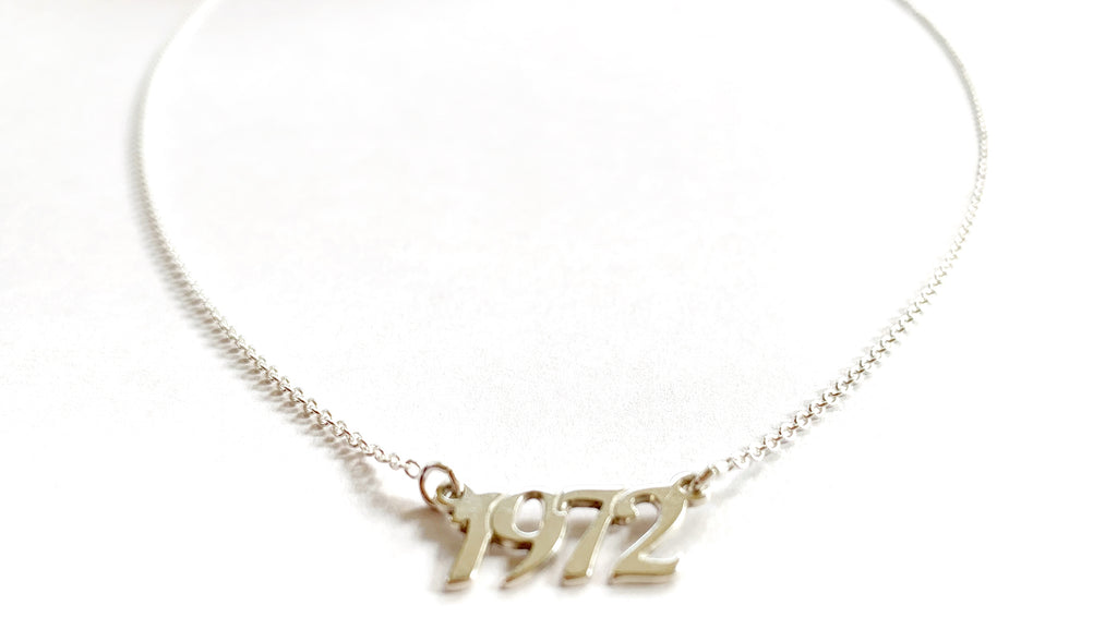 "Sterling Silver Plated ""1972"" Necklace"