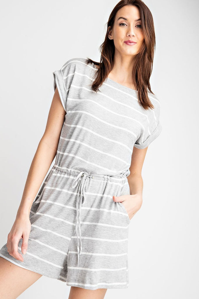 Bella Grey Striped Pocketed Romper