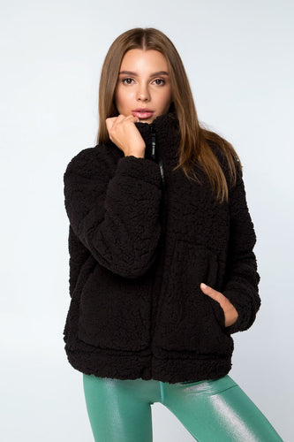JACKET TEDDY BLACK - Designed for Fitness