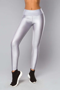 LEGGINGS GLOSSY SILVER - Designed for Fitness