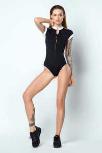 One-piece Sport Swimsuit Black SURF GIRL - Designed for Fitness