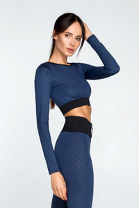 3D Denim Top with long sleeves - Designed for Fitness