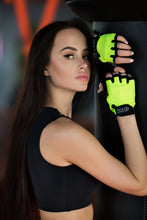 Load image into Gallery viewer, GLOVES BLACK N LEMON - Designed for Fitness