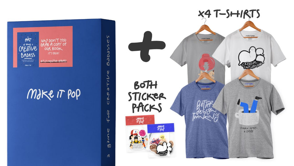 make it pop Design Thinking Card Game with four tshirts