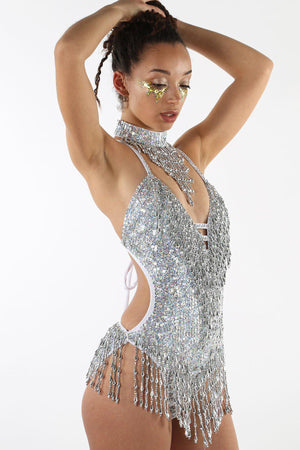 Shimmy Shimmy Holographic Silver Bodysuit - Easy Tiger