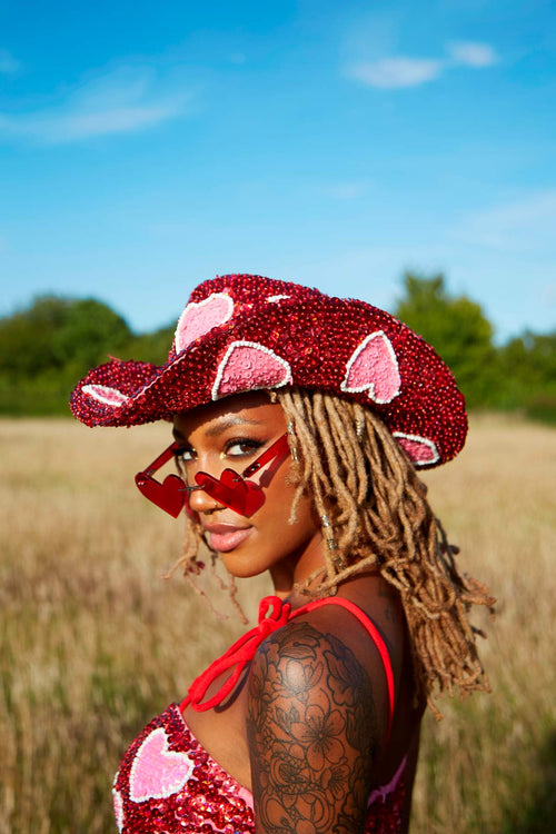Cupid Cowgirl Hat in Red - Easy Tiger