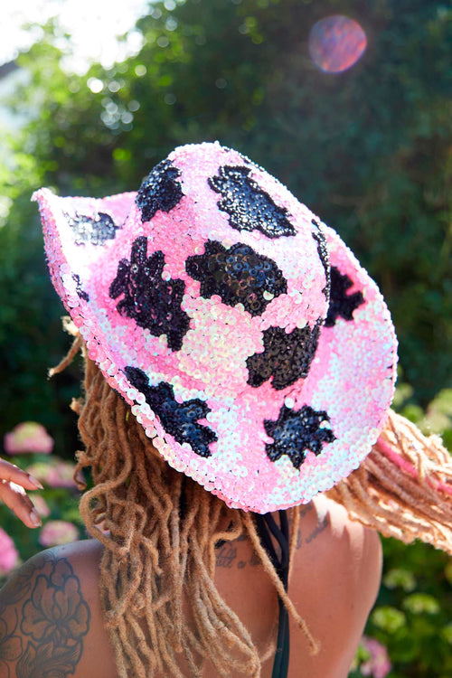 Rhinestone Cowgirl Sequin Hat in Iridescent Pink - Easy Tiger