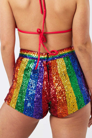 Dream In Rainbow Sequin Shorts  Easy Tiger SHORTS shop-easytiger.myshopify.com Easy Tiger