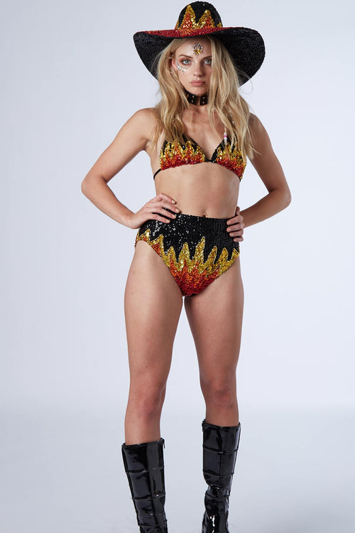 Too Hot To Handle Flame Hot Pants - Easy Tiger