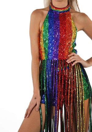 Dream In Rainbow Sequin Tassel Top  Easy Tiger TOP shop-easytiger.myshopify.com Easy Tiger