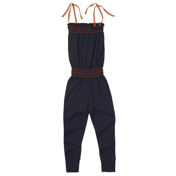 Navy Jumpsuit with orange straps