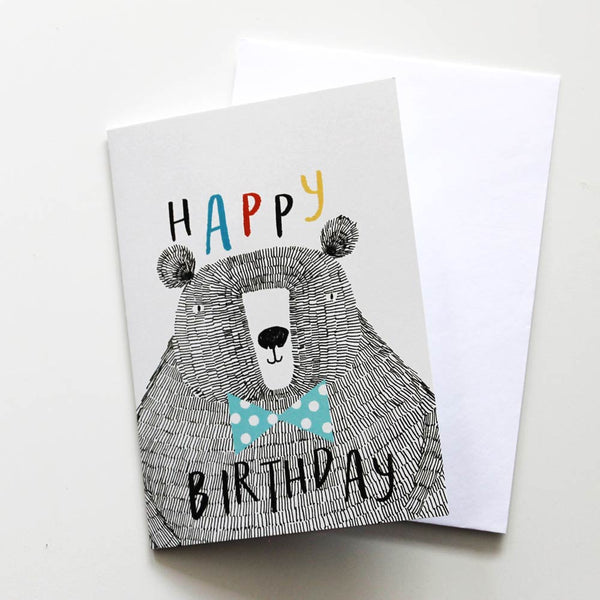 Happy Birthday Bear Print Card