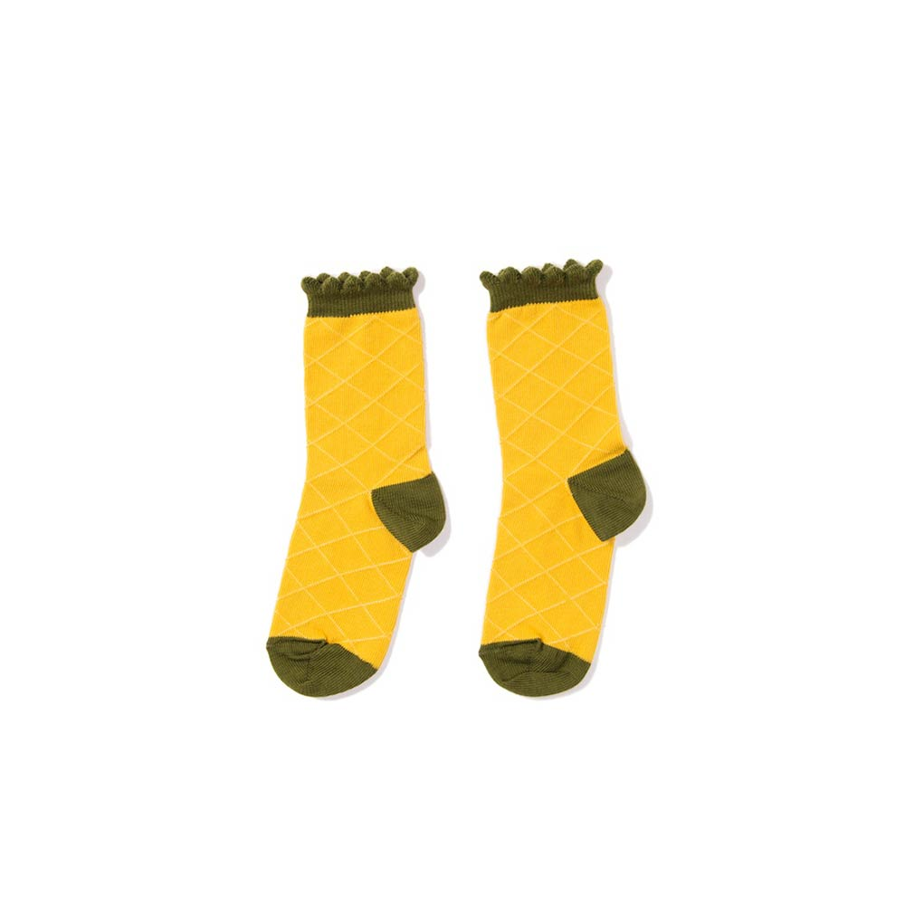 Yellow Crew Cotton Socks