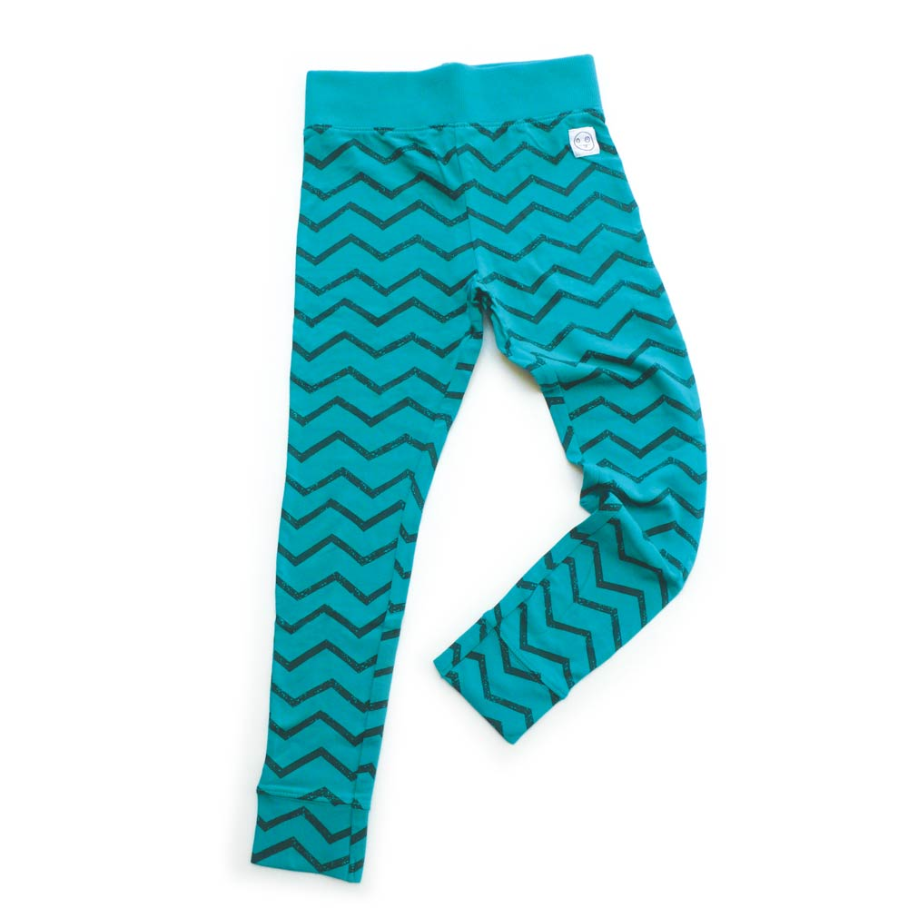 Blue Leggings with Zig Zag Print