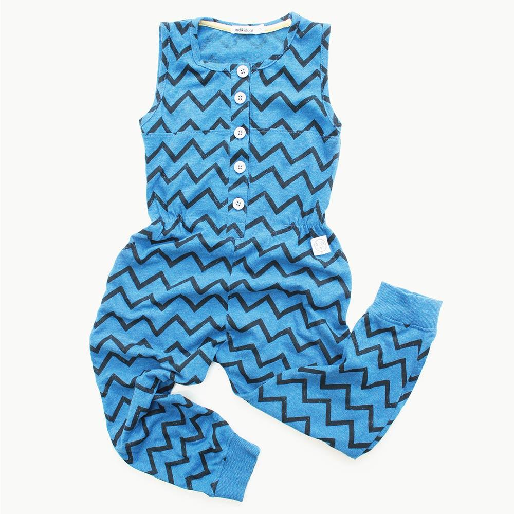Blue Jumpsuit with Zig Zag Print