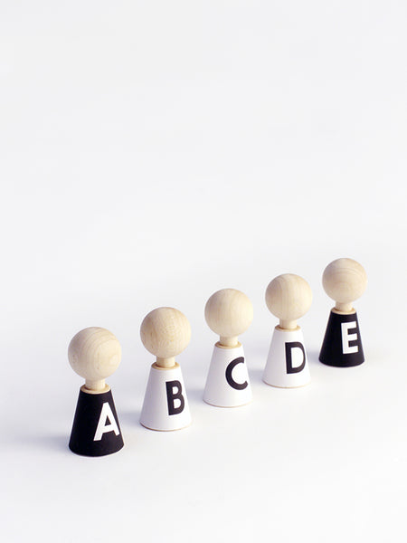 Alphabet Pebbles Wooden Dolls