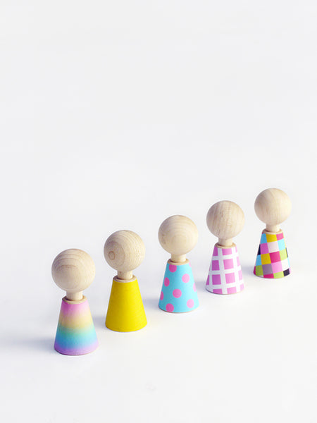 Colour Pebbles Wooden Dolls