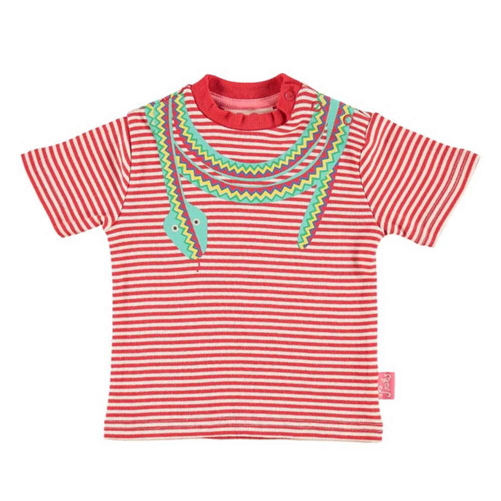Red Stripe and Print T-Shirt