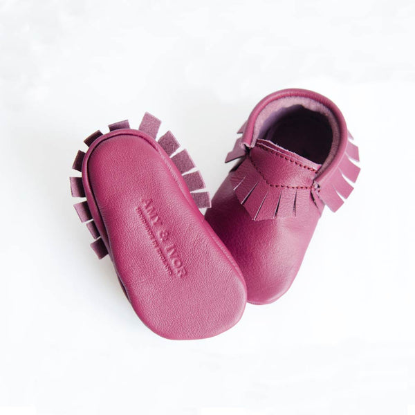 Plum leather moccasin