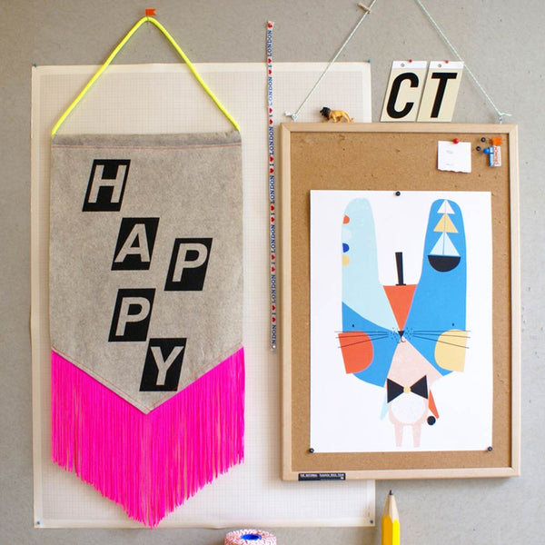 Happy Banner Pink Tassels