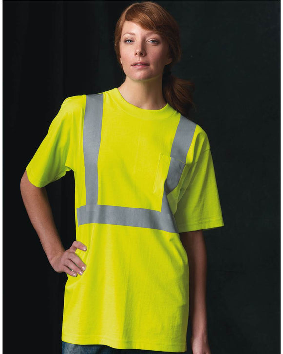 50/50 USA Made High Visibility Short Sleeve T-Shirt with Pocket