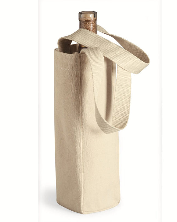 10 Ounce Cotton Canvas Single Bottle Wine Tote