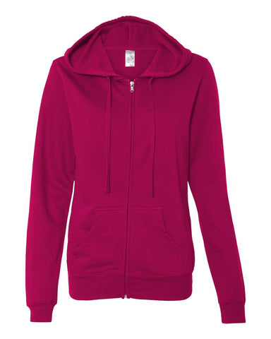 Juniors' Lightweight Full-Zip Hooded Sweatshirt